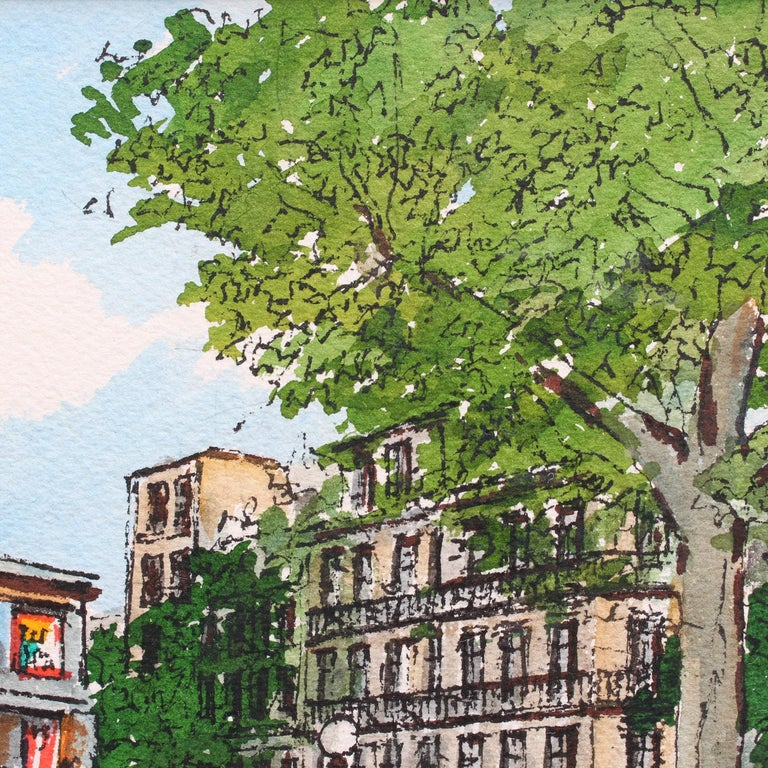 'Paris Metro Station', gouache on paper (1974), by Roland Hamon. This artwork depicts a delightful summer day in an upscale neighbourhood of Paris in the 17th Arrondissement, Champerret. Near the Metro station is a news kiosk which also sells