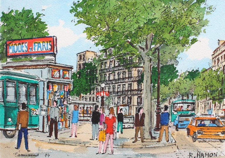 Roland Hamon Figurative Painting - Paris Metro Station