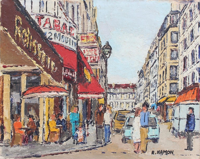 'Parisian Street Corner', oil on canvas (circa 1970s), by Roland Hamon. This artwork depicts a splendid, clear day on a typical street corner in France's capital city. Diners sit on sidewalk tables while passers-by go about their business. The