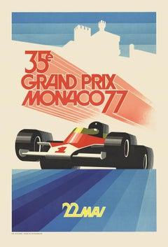 1990 Roland Hugon 'Monaco Grand Prix 1977' Vintage Blue,Red France Lithograph