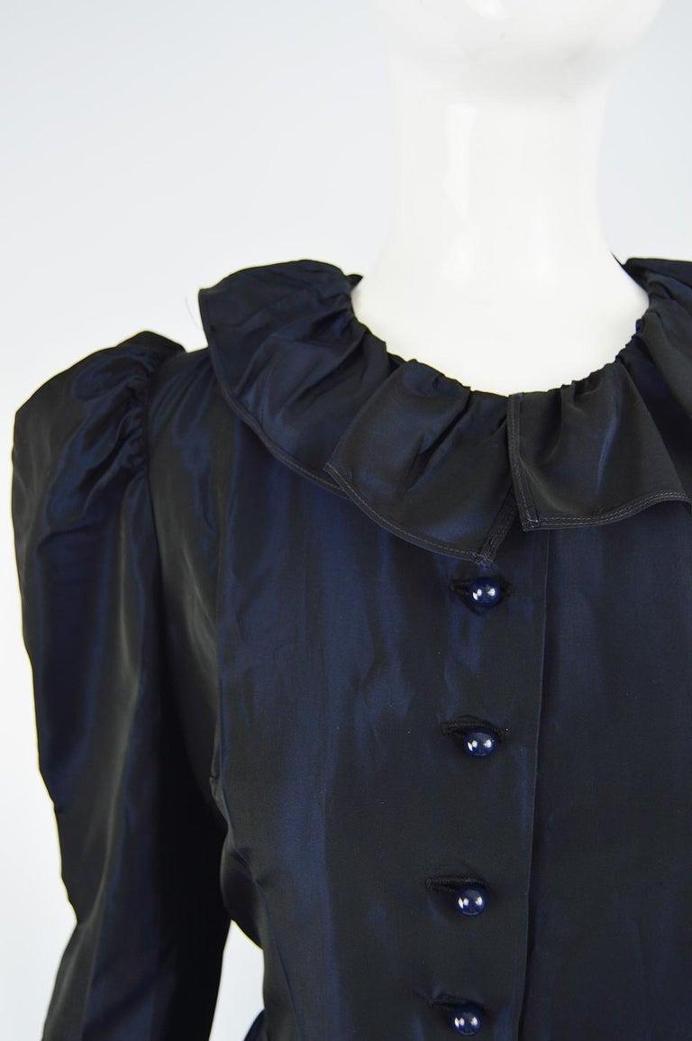 Black Roland Klein 1970s Victorian Inspired Dark Blue Taffeta Long Sleeve Evening Gown For Sale