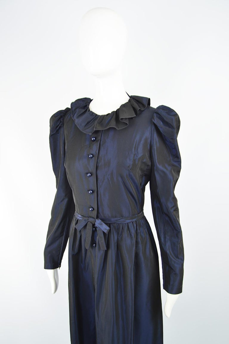 Roland Klein 1970s Victorian Inspired Dark Blue Taffeta Long Sleeve Evening Gown In Good Condition For Sale In Doncaster, South Yorkshire