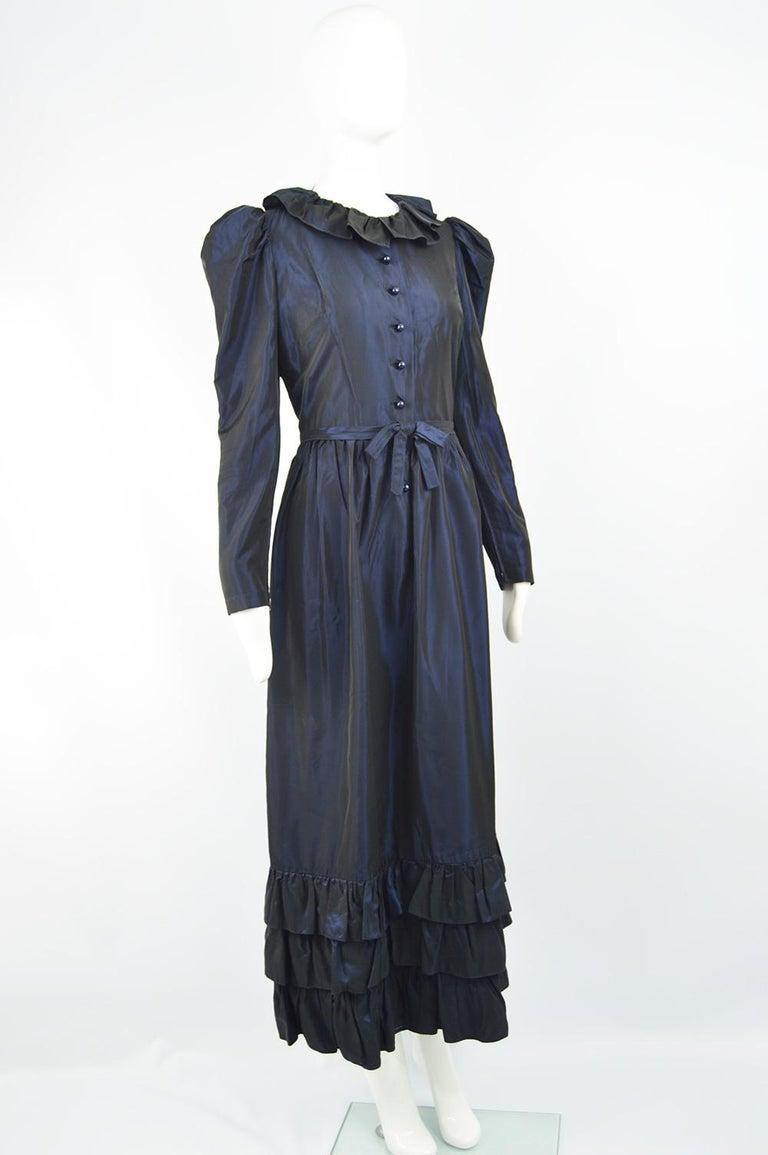 Women's Roland Klein 1970s Victorian Inspired Dark Blue Taffeta Long Sleeve Evening Gown For Sale