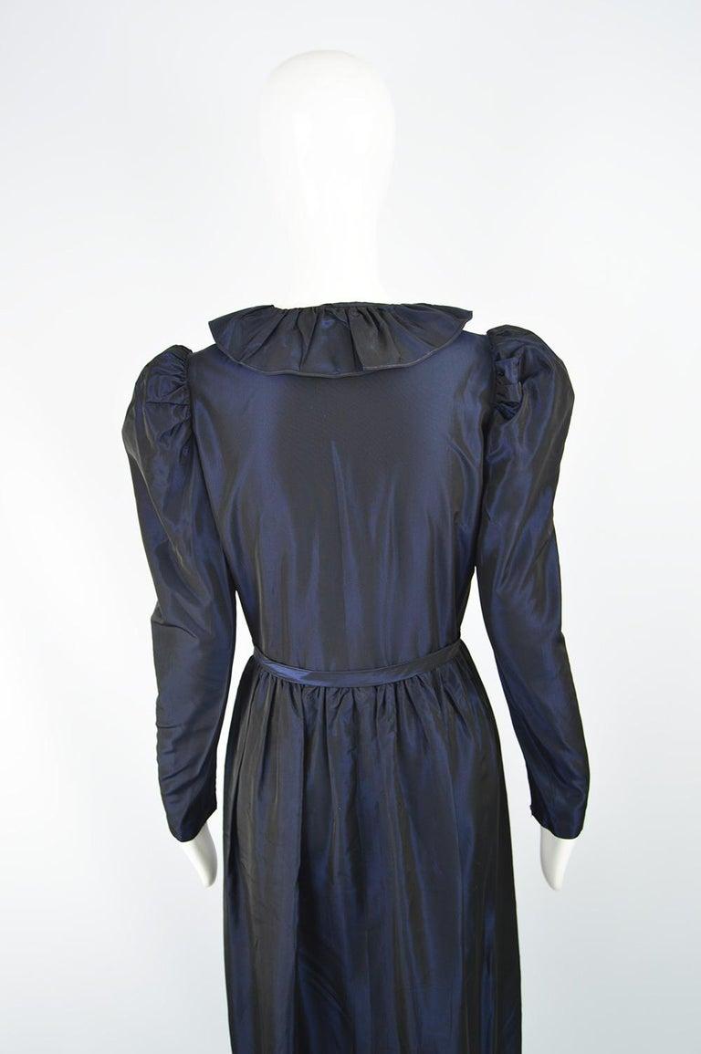 Roland Klein 1970s Victorian Inspired Dark Blue Taffeta Long Sleeve Evening Gown For Sale 1