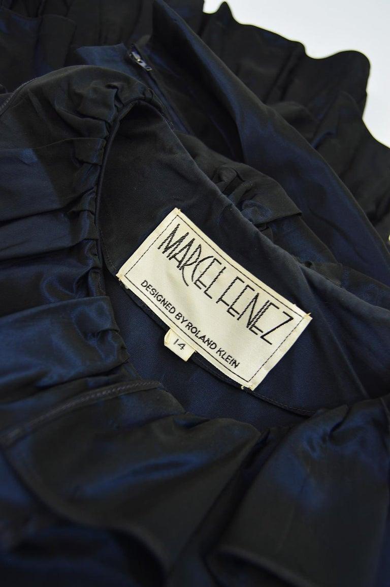 Roland Klein 1970s Victorian Inspired Dark Blue Taffeta Long Sleeve Evening Gown For Sale 2