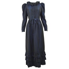 Roland Klein 1970s Victorian Inspired Dark Blue Taffeta Long Sleeve Evening Gown