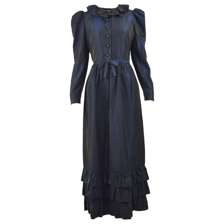 Roland Klein 1970s Victorian Inspired Dark Blue Taffeta Long Sleeve Evening Gown For Sale