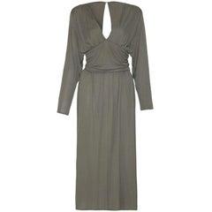 3874fa069cfaf Roland Klein by Marcel Fenez 1970s Studio 54 Grey Silky Jersey Dress