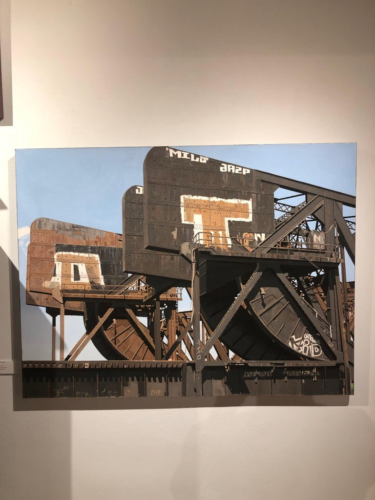8 Track II - Graffiti and rust covered bridge contemporary photorealist painting - Painting by Roland Kulla