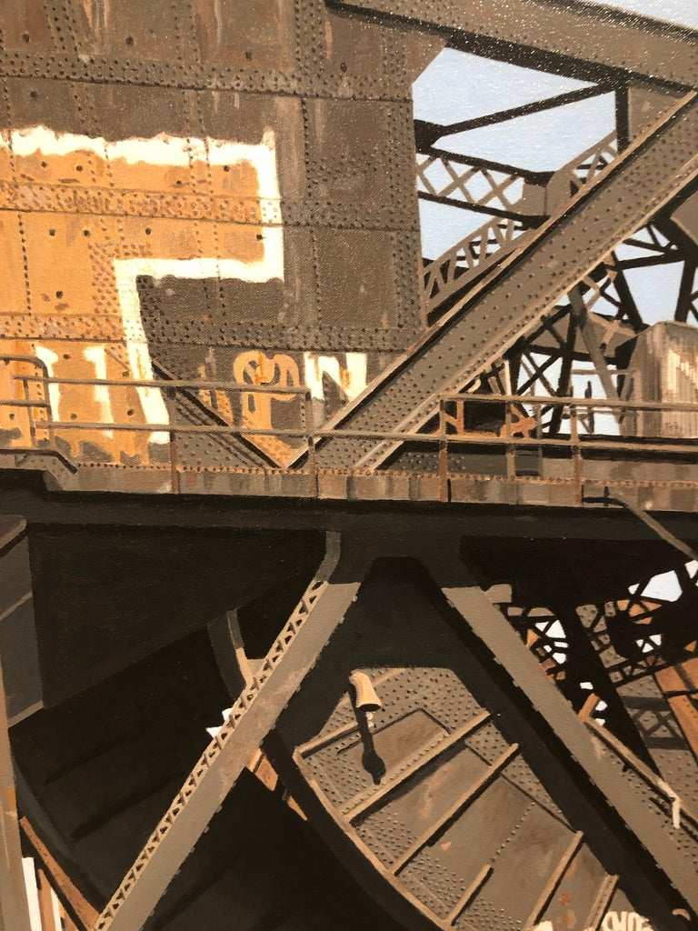 8 Track II - Graffiti and rust covered bridge contemporary photorealist painting 3