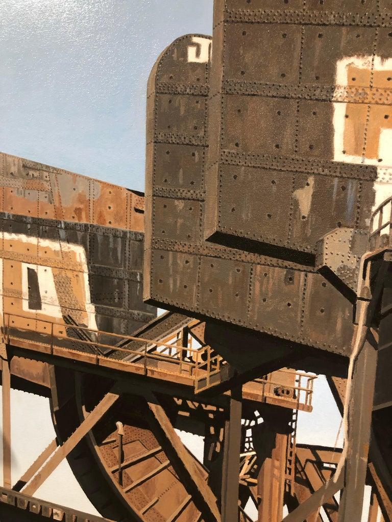 8 Track II - Graffiti and rust covered bridge contemporary photorealist painting 4