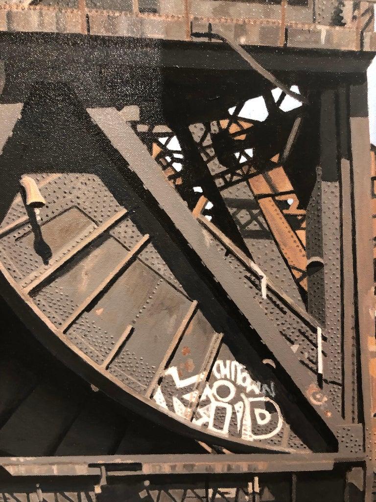 8 Track II - Graffiti and rust covered bridge contemporary photorealist painting 5
