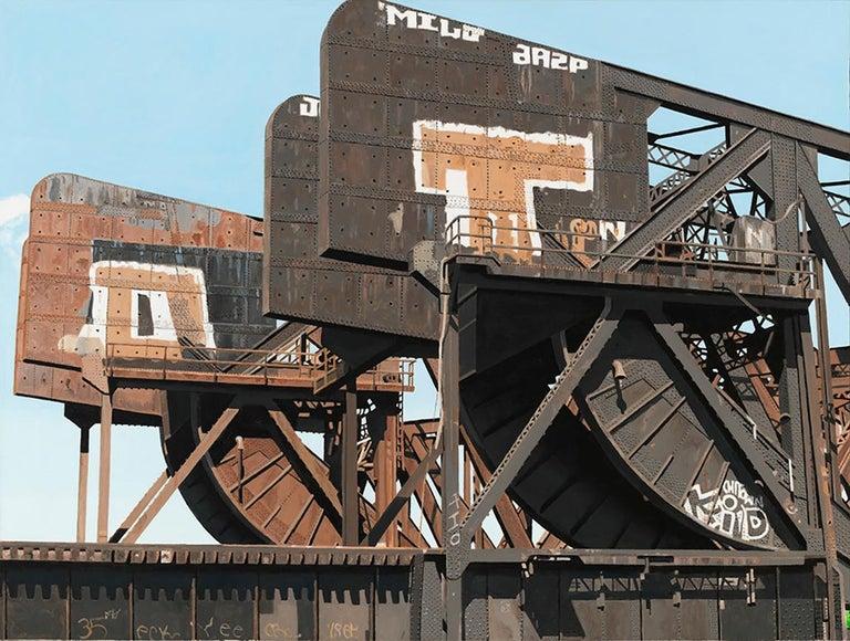 8 Track II - Graffiti and rust covered bridge contemporary photorealist painting 1