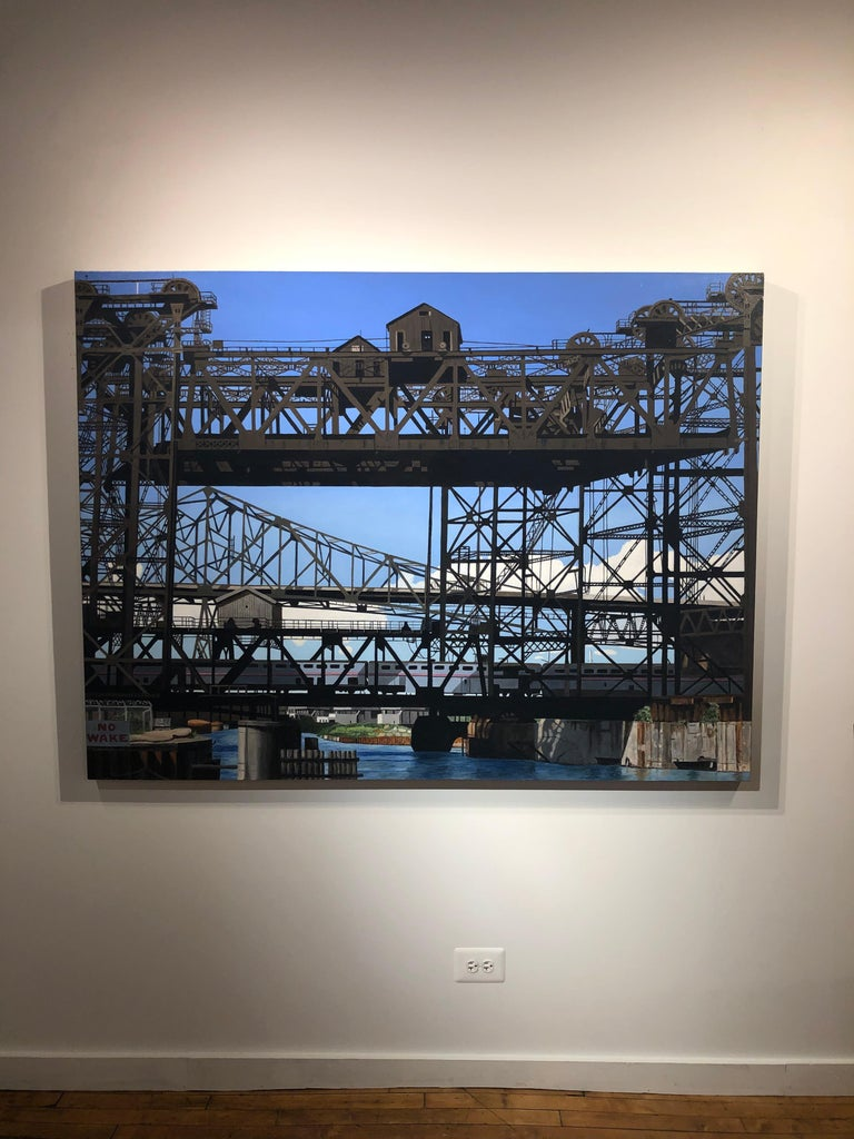 Calumet Vista - Iron and Steel Girder Bridge, Contemporary Photorealist Painting - Black Landscape Painting by Roland Kulla