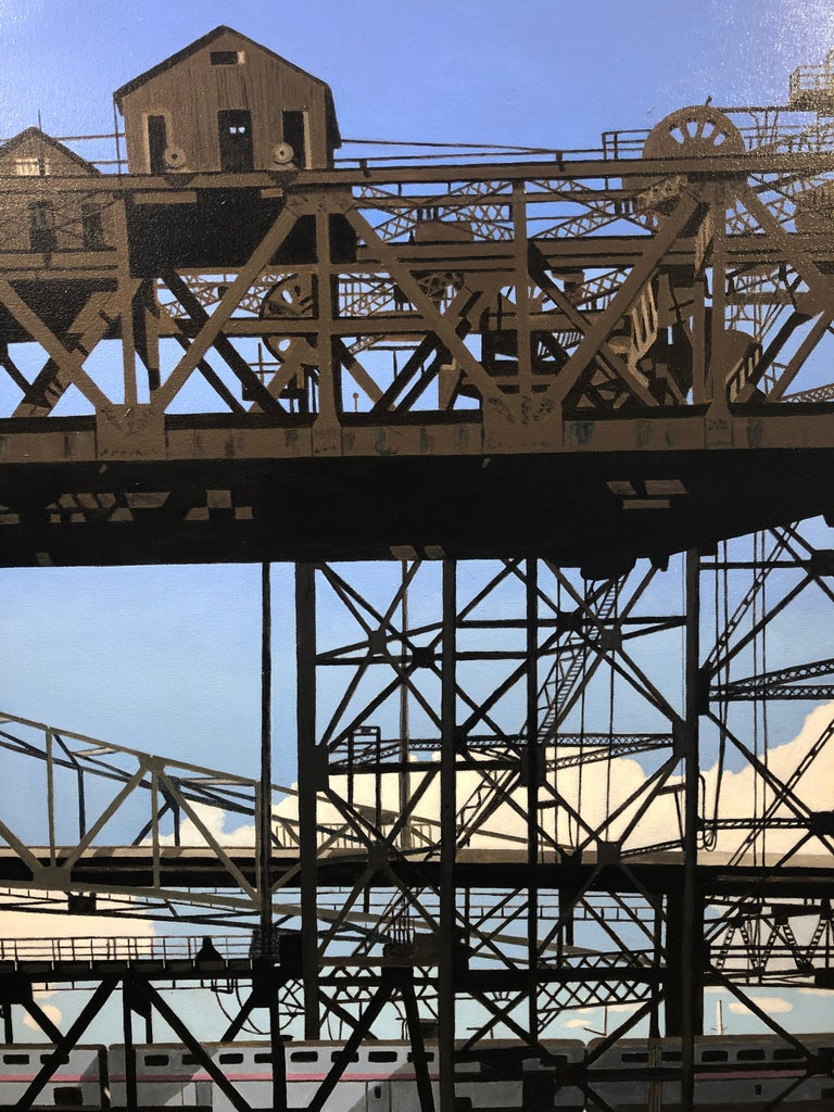 This painting captures a spiderweb like red iron girder beam steel bridge.  Roland has always been fascinated by the built environment. Reflecting on what the structures tell about their builders as well as their interaction with nature and the