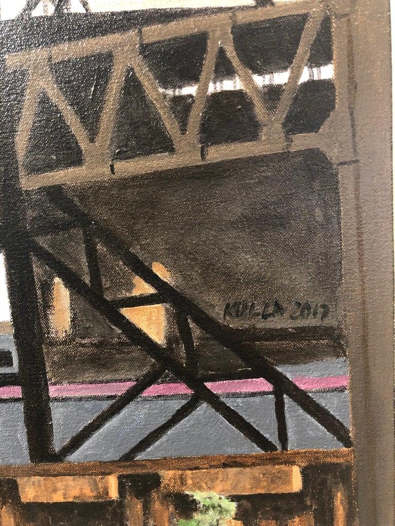Calumet Vista - Iron and Steel Girder Bridge, Contemporary Photorealist Painting For Sale 1