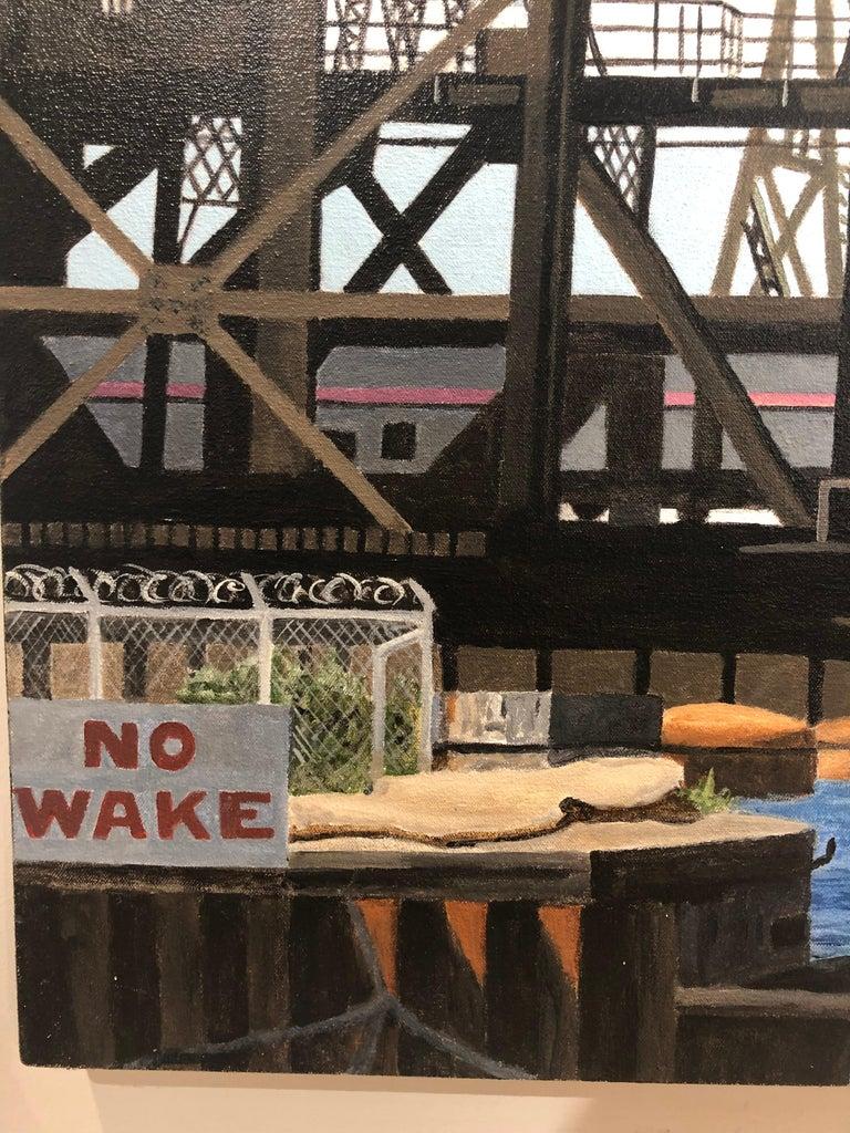 Calumet Vista - Iron and Steel Girder Bridge, Contemporary Photorealist Painting For Sale 2