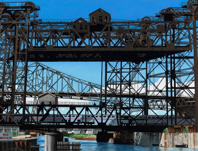 Roland Kulla Landscape Painting - Calumet Vista - Iron and Steel Girder Bridge, Contemporary Photorealist Painting
