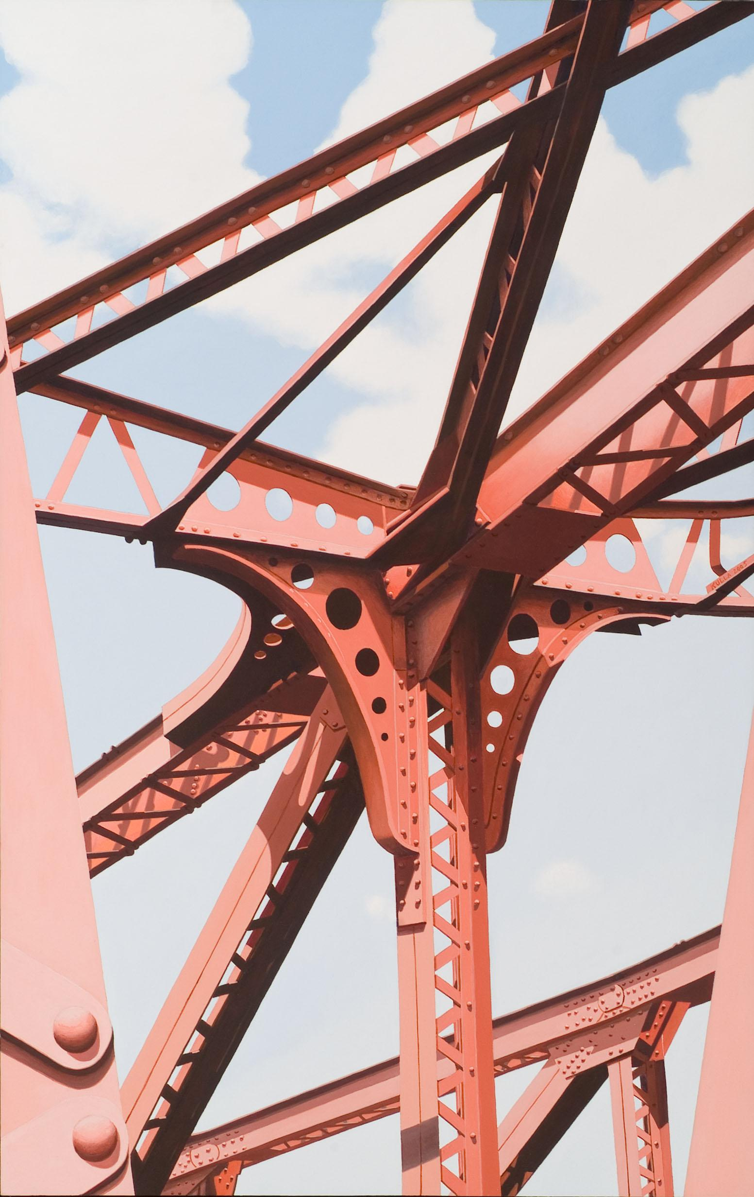 North Ave. - Red iron steel girder bridge contemporary photorealist painting