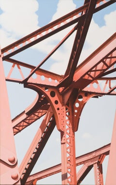 North Ave. - Red iron steel girder bridge contemporary photorealist painting