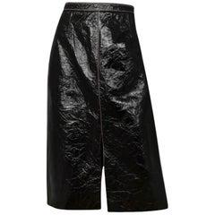 "Roland Mouret Black Crinkled Patent ""Birch"" Skirt w/ Contrast Stitching sz 14"