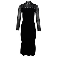 Roland Mouret Black Ribbed Long Sleeve Dress w/ Flair Bottom sz XS