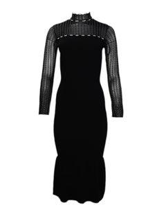 Roland Mouret Black Ribbed Long Sleeve Dress w/ Flair Bottom sz XS