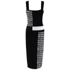 Roland Mouret Black & White Knit Sleeveless Dress - Size M