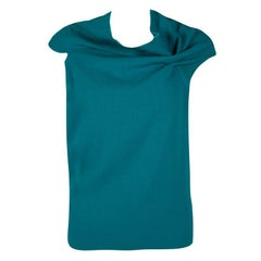 Roland Mouret Blue Wool Asymmetric Draped Eugene Top S