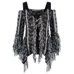 Roland Mouret Burley Cold-shoulder Frayed Tweed Top S