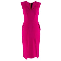 Roland Mouret Cerise Pink Sleeveless Tailored Midi Dress
