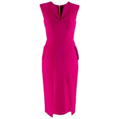 Roland Mouret Cerise Pink Sleeveless Tailored Midi Dress - Size Small