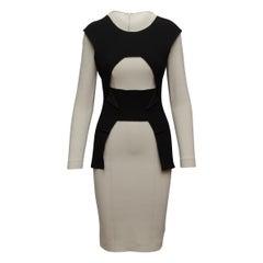 Roland Mouret Grey & Black Long Sleeve Dress