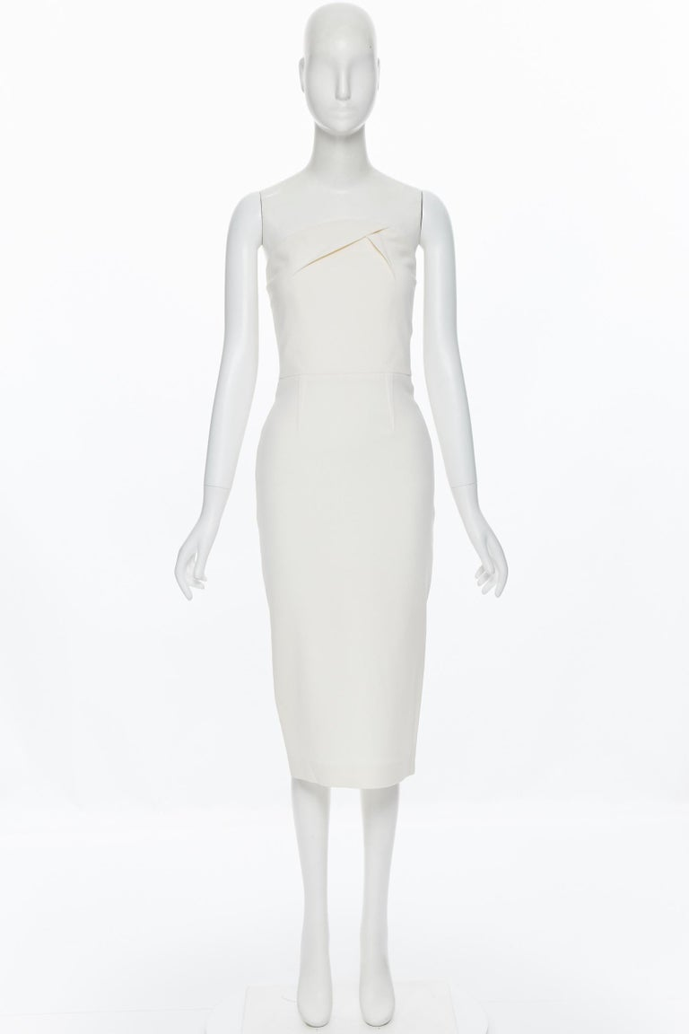 Gray ROLAND MOURET ivory wool crepe origami dart strapless cocktail dress UK8 XS For Sale