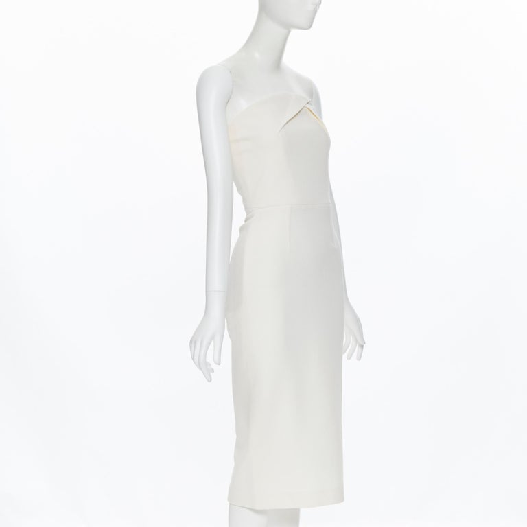 ROLAND MOURET ivory wool crepe origami dart strapless cocktail dress UK8 XS In Excellent Condition For Sale In Hong Kong, NT