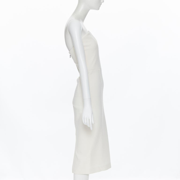Women's ROLAND MOURET ivory wool crepe origami dart strapless cocktail dress UK8 XS For Sale