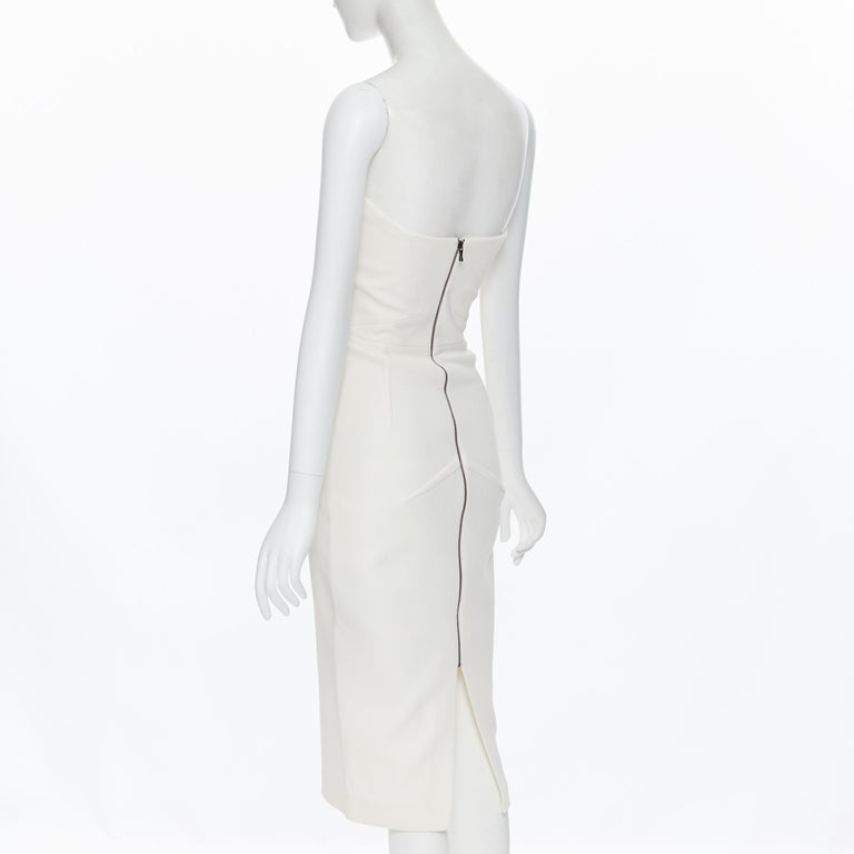 ROLAND MOURET ivory wool crepe origami dart strapless cocktail dress UK8 XS For Sale 1