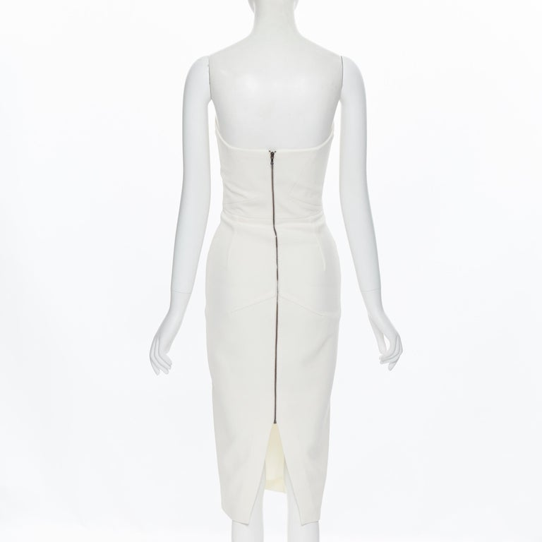 ROLAND MOURET ivory wool crepe origami dart strapless cocktail dress UK8 XS For Sale 2