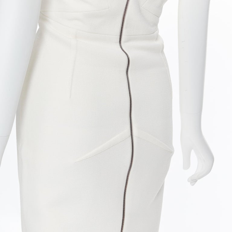 ROLAND MOURET ivory wool crepe origami dart strapless cocktail dress UK8 XS For Sale 3