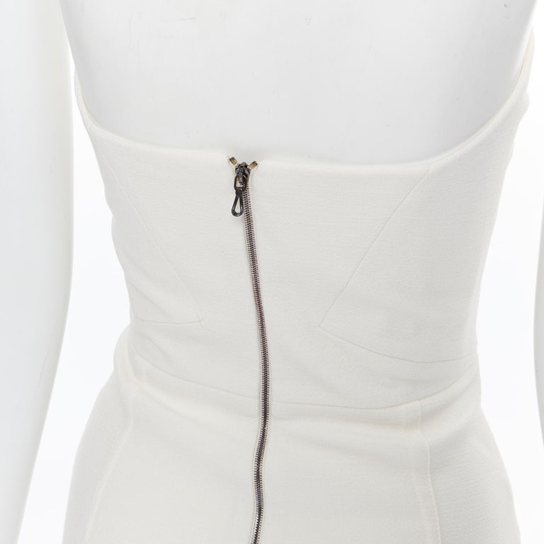 ROLAND MOURET ivory wool crepe origami dart strapless cocktail dress UK8 XS For Sale 4