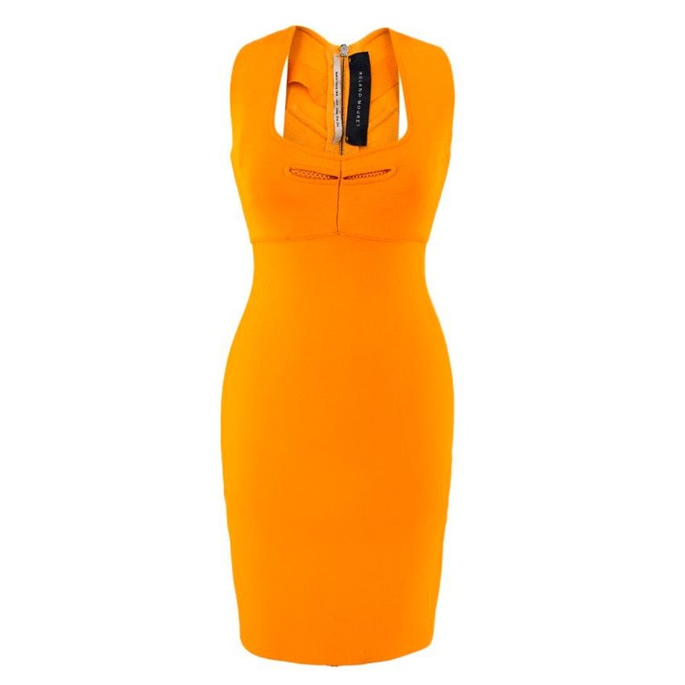 Roland Mouret Orange Bodycon Dress  - Sleeveless - Cut out chest with mesh detailing - Squared neckline - Cut out back  - Exposed zipper from back of neck to hemline - Small slit at the back - Waist seam detail  Measurements are taken laying flat,
