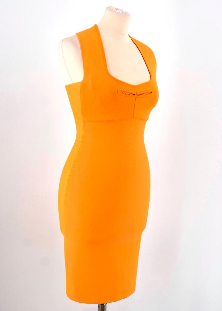 Roland Mouret Orange Bodycon Dress - Size US 4 In Excellent Condition For Sale In London, GB