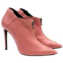 Roland Mouret Pink Leather Ankle Boots Size 37.5