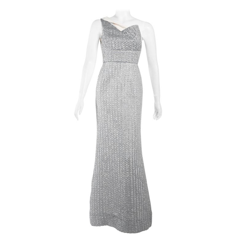 Roland Mouret Silver Structured Gown For Sale