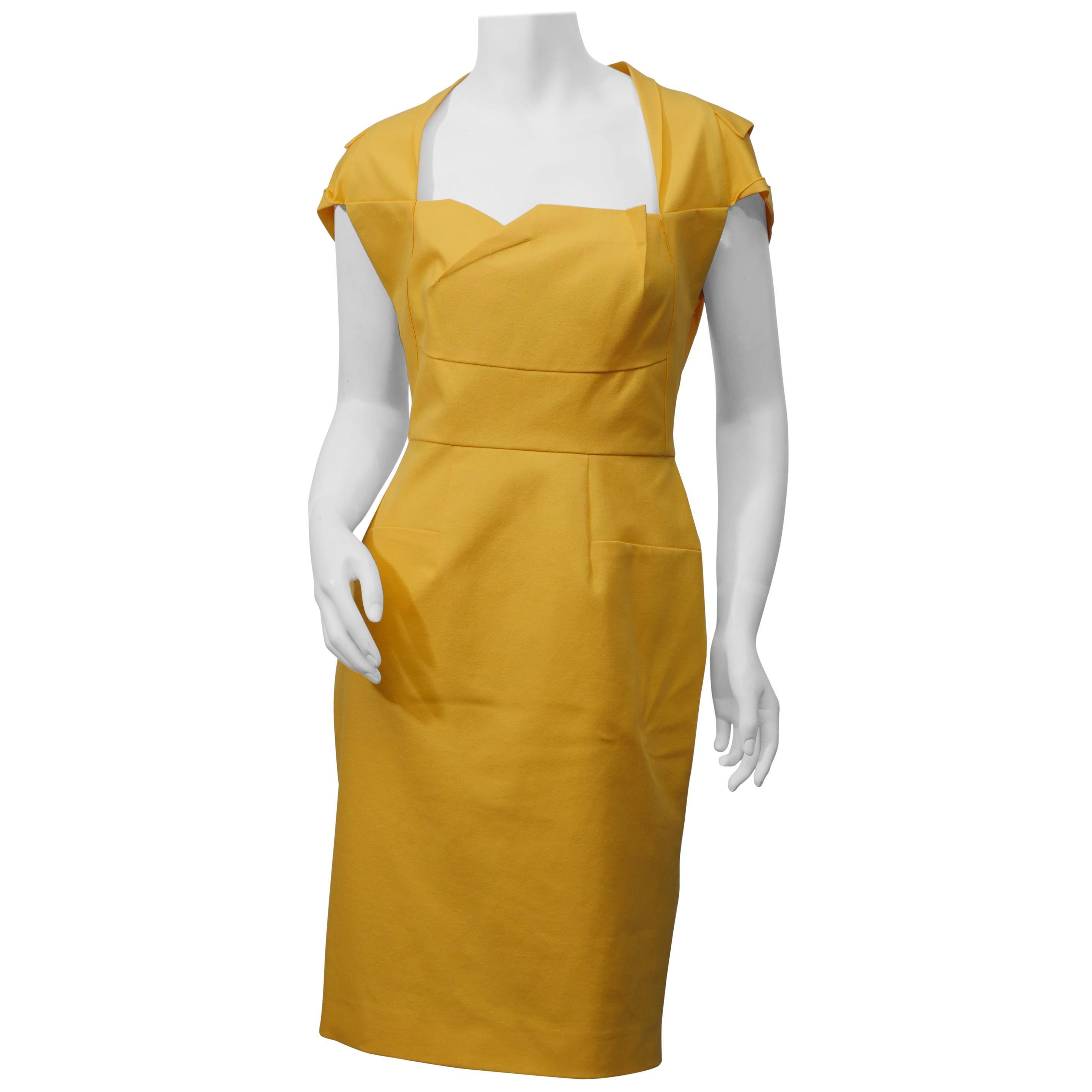 Roland Mouret Size 8 Yellow Cotton 'Limited Edition' Cap Sleeve Sheath Dress