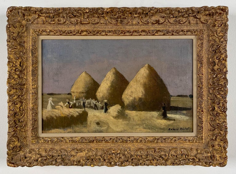 Haystacks - Brown Landscape Painting by Roland Oudot