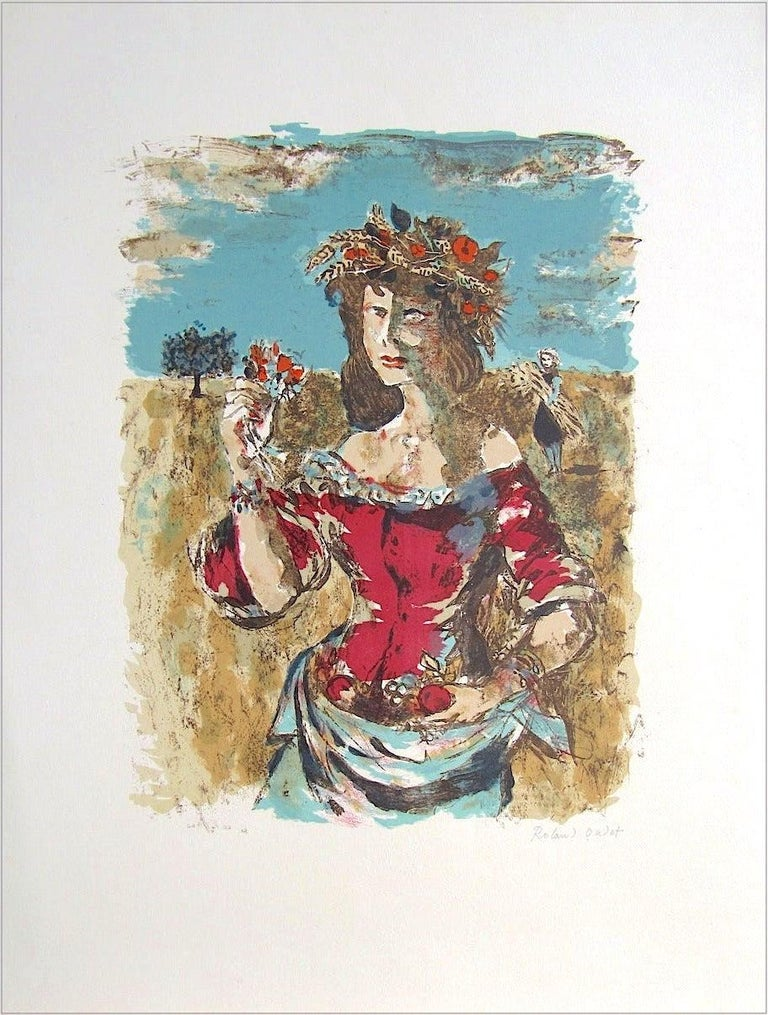 HARVEST QUEEN Signed Lithograph, Female Portrait, Field Flowers, Fruit, Wheat  - Contemporary Print by Roland Oudot