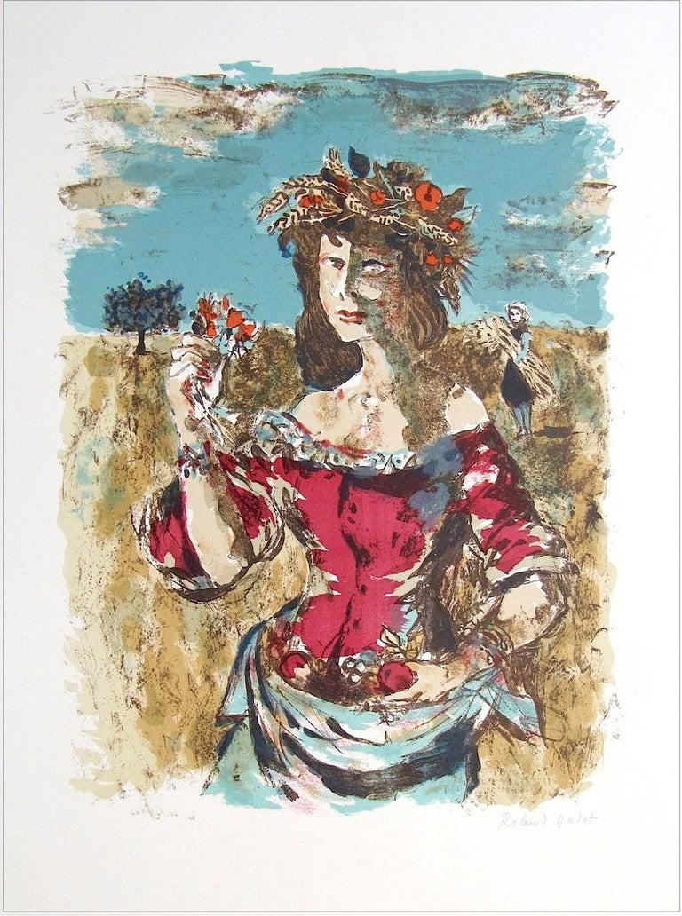 Roland Oudot Portrait Print - HARVEST QUEEN Signed Lithograph, Female Portrait, Field Flowers, Fruit, Wheat