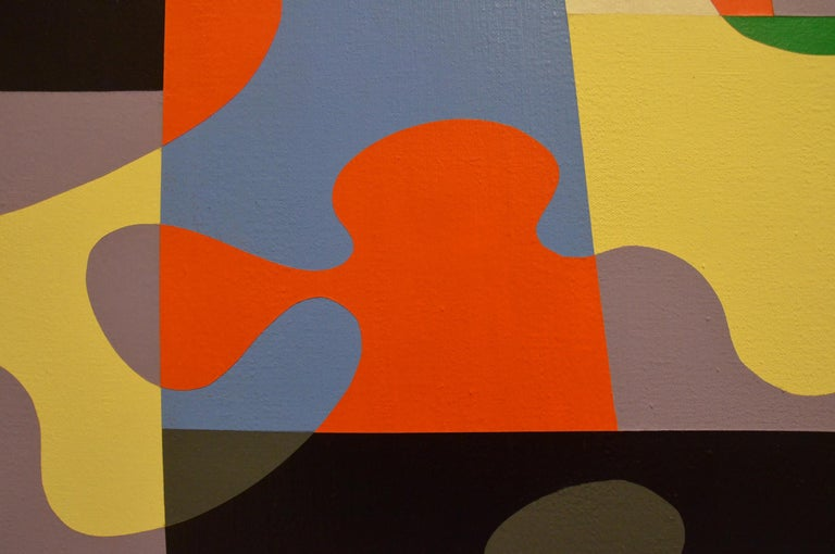 Satellite Series, 1972 framed geometric abstract aerial view of California - Beige Abstract Painting by Roland Petersen