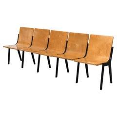 Roland Rainer 5 Chair Beech Bench from a Dutch Church